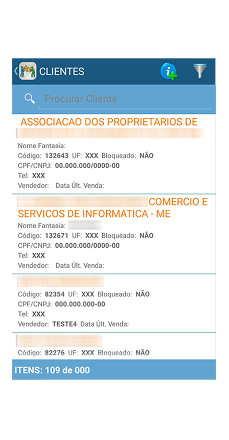 tela de lista de clientes do aplicativo mobile