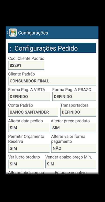 tela de configurações do pedido do aplicativo mobile