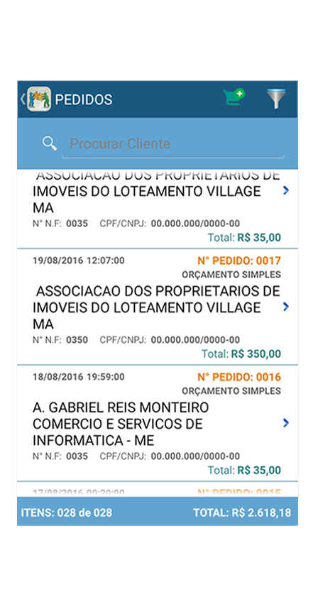tela de lista de pedidos do aplicativo mobile